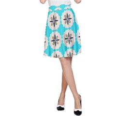 Floral pattern on a blue background A-line Skirt
