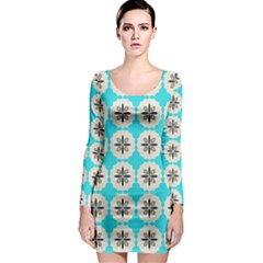 Floral pattern on a blue background Long Sleeve Bodycon Dress