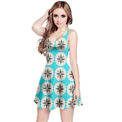Floral Pattern On A Blue Background Sleeveless Dress
