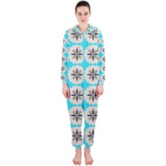 Floral pattern on a blue background Hooded OnePiece Jumpsuit