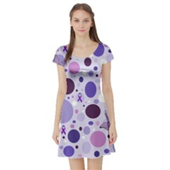 Purple Awareness Dots Short Sleeve Skater Dress