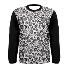 Elegant Glittery Floral Long Sleeve T Shirt (men)