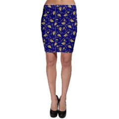 NavyGoldPeacockSwirl BodyCon Skirt Bodycon Skirt