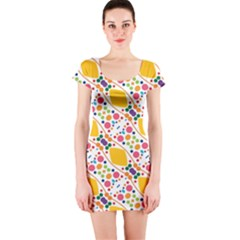 Dots And Rhombus Short Sleeve Bodycon Dress