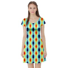 Yellow Chains Pattern Short Sleeve Skater Dress