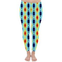 Yellow Chains Pattern Winter Leggings