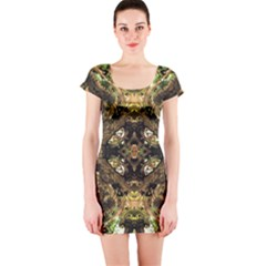 Tribal Jungle Print Short Sleeve Bodycon Dress