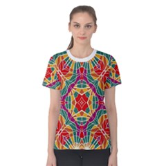 Multicolor Geometric Print Women s Cotton Tee
