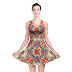 Multicolor Geometric Print Reversible Skater Dress