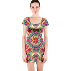 Multicolor Geometric Print Short Sleeve Bodycon Dress