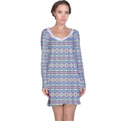 Aztec Style Pattern In Pastel Colors Long Sleeve Nightdress