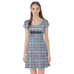 Aztec Style Pattern in Pastel Colors Short Sleeve Skater Dress