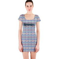 Aztec Style Pattern In Pastel Colors Short Sleeve Bodycon Dress