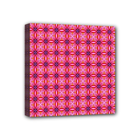 Abstract Pink Floral Tile Pattern Mini Canvas 4  X 4  (framed)