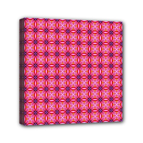 Abstract Pink Floral Tile Pattern Mini Canvas 6  X 6  (framed)