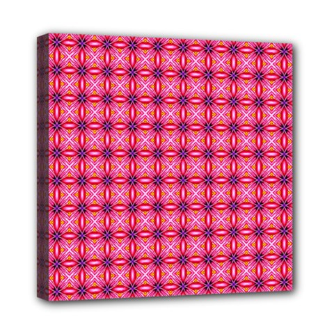 Abstract Pink Floral Tile Pattern Mini Canvas 8  X 8  (framed)