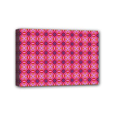Abstract Pink Floral Tile Pattern Mini Canvas 6  X 4  (framed)
