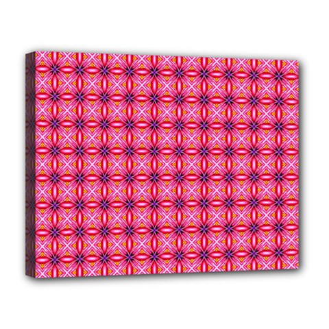 Abstract Pink Floral Tile Pattern Canvas 14  X 11  (framed)