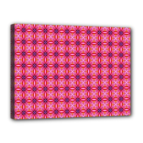 Abstract Pink Floral Tile Pattern Canvas 16  X 12  (framed)