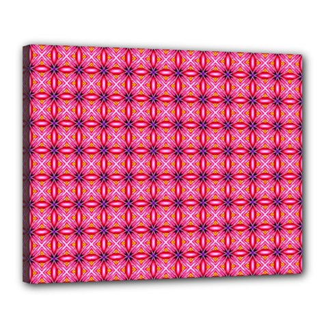 Abstract Pink Floral Tile Pattern Canvas 20  X 16  (framed)