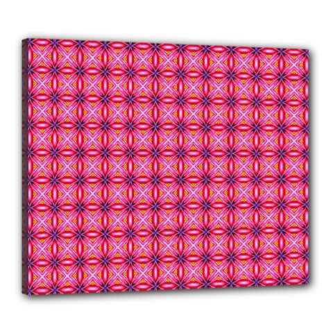 Abstract Pink Floral Tile Pattern Canvas 24  x 20  (Framed)