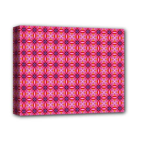 Abstract Pink Floral Tile Pattern Deluxe Canvas 14  X 11  (framed)