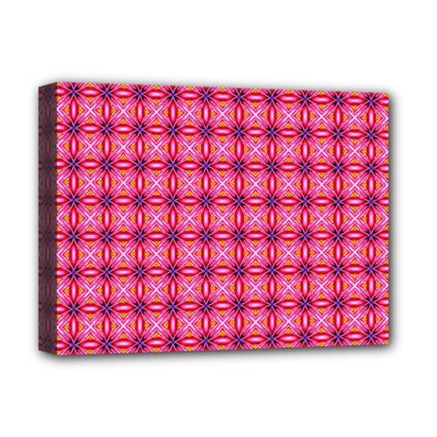 Abstract Pink Floral Tile Pattern Deluxe Canvas 16  X 12  (framed)