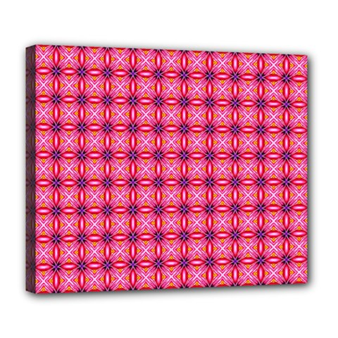 Abstract Pink Floral Tile Pattern Deluxe Canvas 24  X 20  (framed)