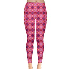 Abstract Pink Floral Tile Pattern Leggings