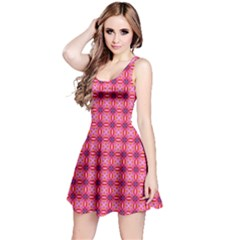 Abstract Pink Floral Tile Pattern Sleeveless Dress