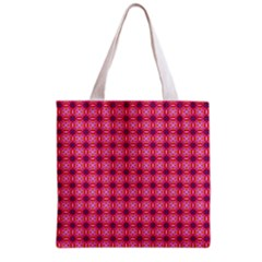Abstract Pink Floral Tile Pattern Grocery Tote Bag