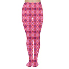 Abstract Pink Floral Tile Pattern Tights
