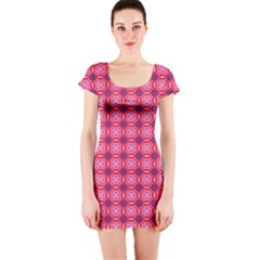 Abstract Pink Floral Tile Pattern Short Sleeve Bodycon Dress