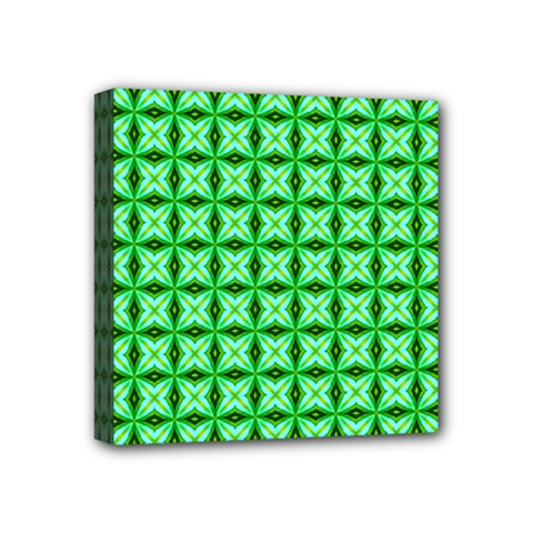 Green Abstract Tile Pattern Mini Canvas 4  X 4  (framed)
