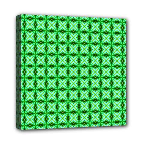 Green Abstract Tile Pattern Mini Canvas 8  X 8  (framed)