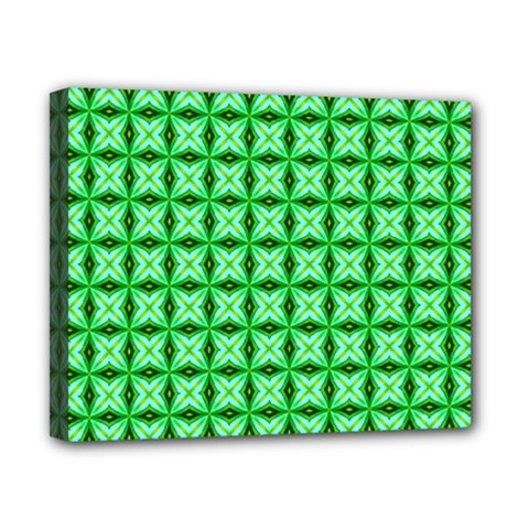 Green Abstract Tile Pattern Canvas 10  X 8  (framed)