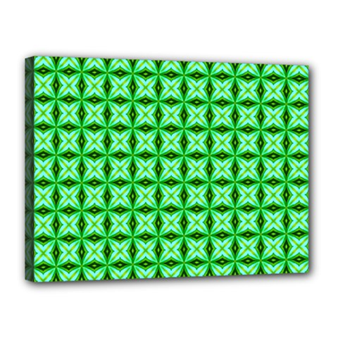 Green Abstract Tile Pattern Canvas 16  X 12  (framed)