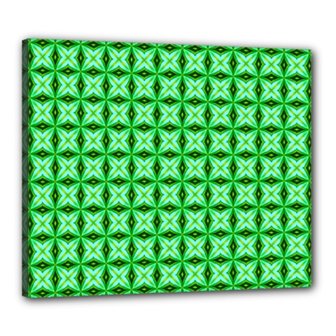 Green Abstract Tile Pattern Canvas 24  X 20  (framed)