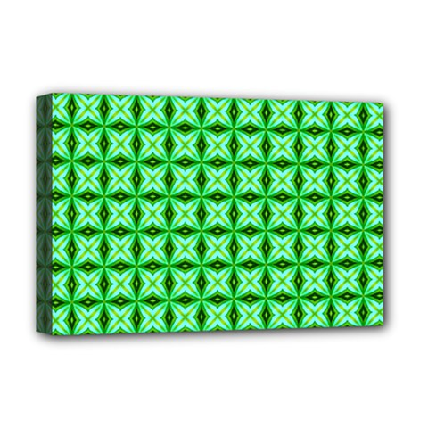 Green Abstract Tile Pattern Deluxe Canvas 18  X 12  (framed)