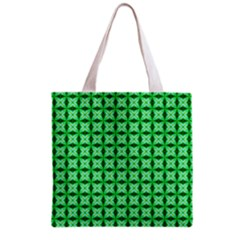 Green Abstract Tile Pattern Grocery Tote Bag