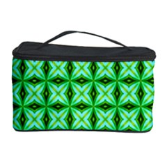 Green Abstract Tile Pattern Cosmetic Storage Case