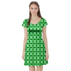 Green Abstract Tile Pattern Short Sleeve Skater Dress