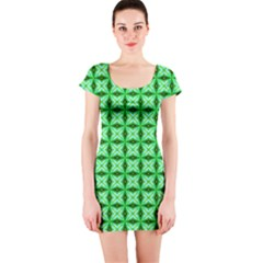 Green Abstract Tile Pattern Short Sleeve Bodycon Dress