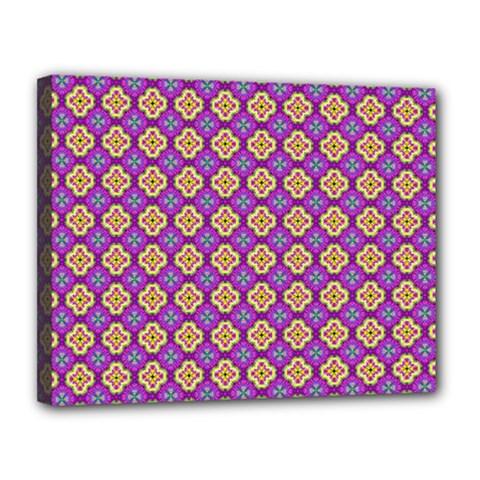 Purple Decorative Quatrefoil Canvas 14  x 11  (Framed)