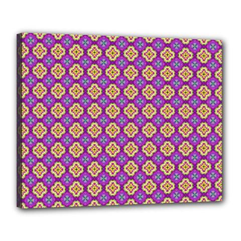 Purple Decorative Quatrefoil Canvas 20  X 16  (framed)