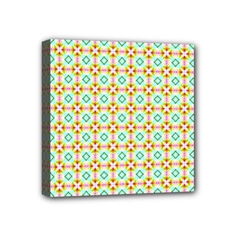 Aqua Mint Pattern Mini Canvas 4  X 4  (framed)