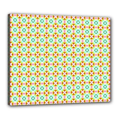 Aqua Mint Pattern Canvas 24  X 20  (framed)