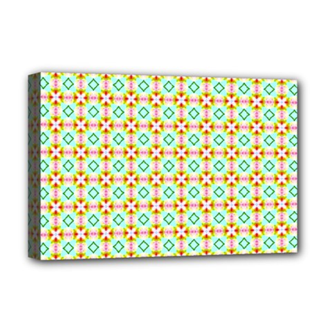 Aqua Mint Pattern Deluxe Canvas 18  X 12  (framed)