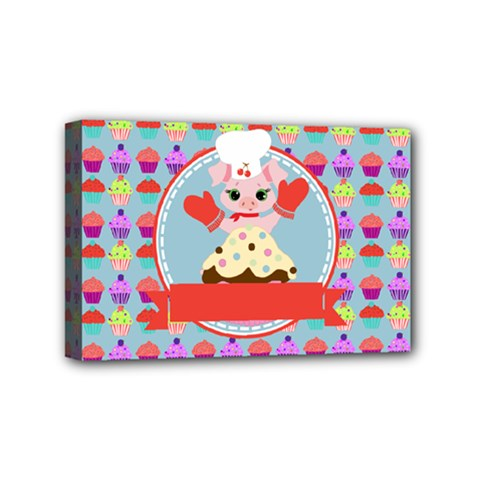 Cupcake With Cute Pig Chef Mini Canvas 6  X 4  (framed)