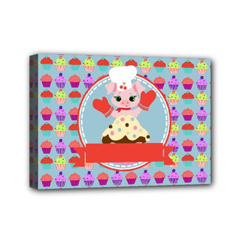 Cupcake With Cute Pig Chef Mini Canvas 7  X 5  (framed)